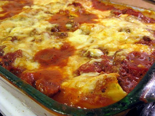 Three Cheese Manicotti with Meat Sauce