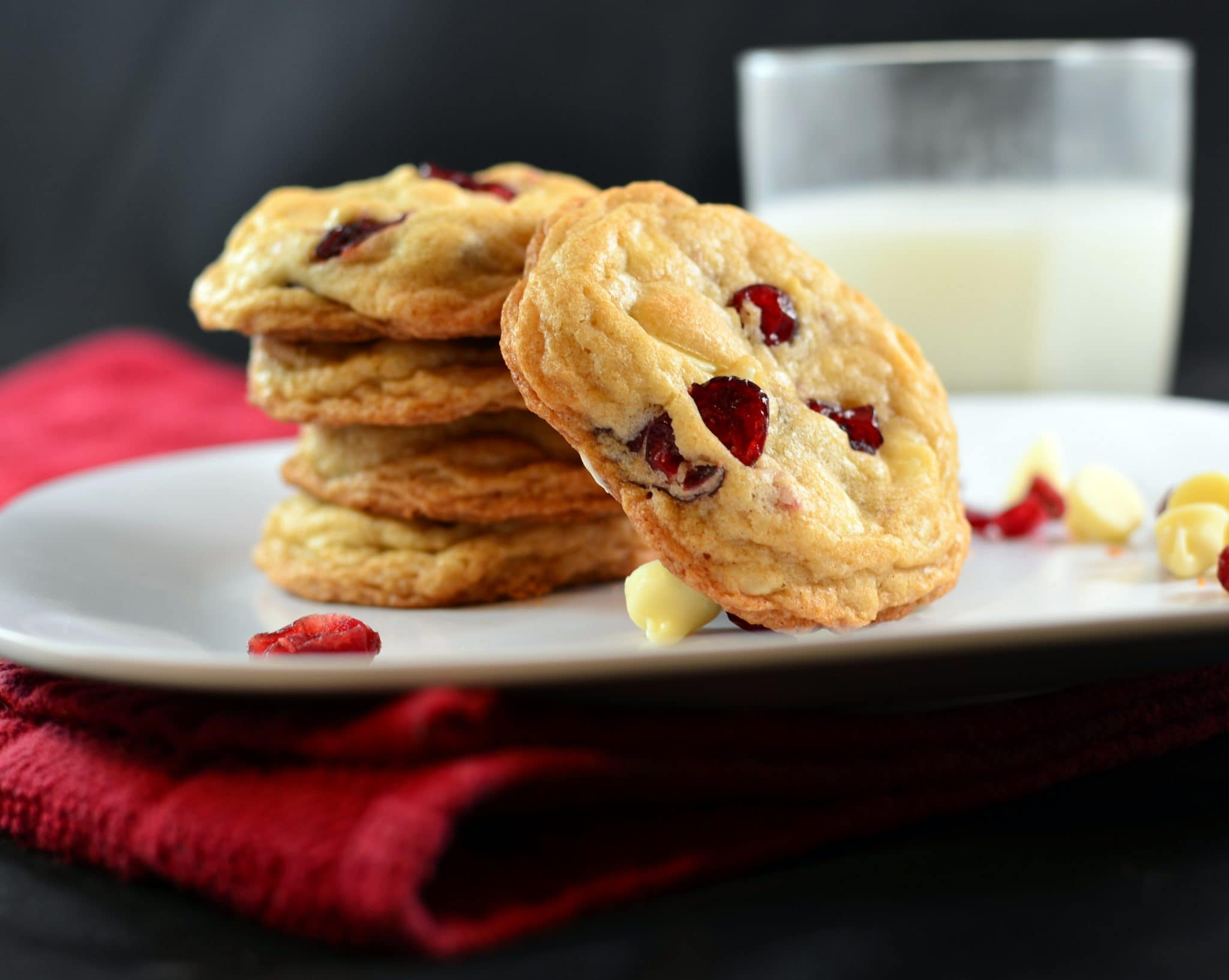 white chocolate macadamia nut and cranberry cookies