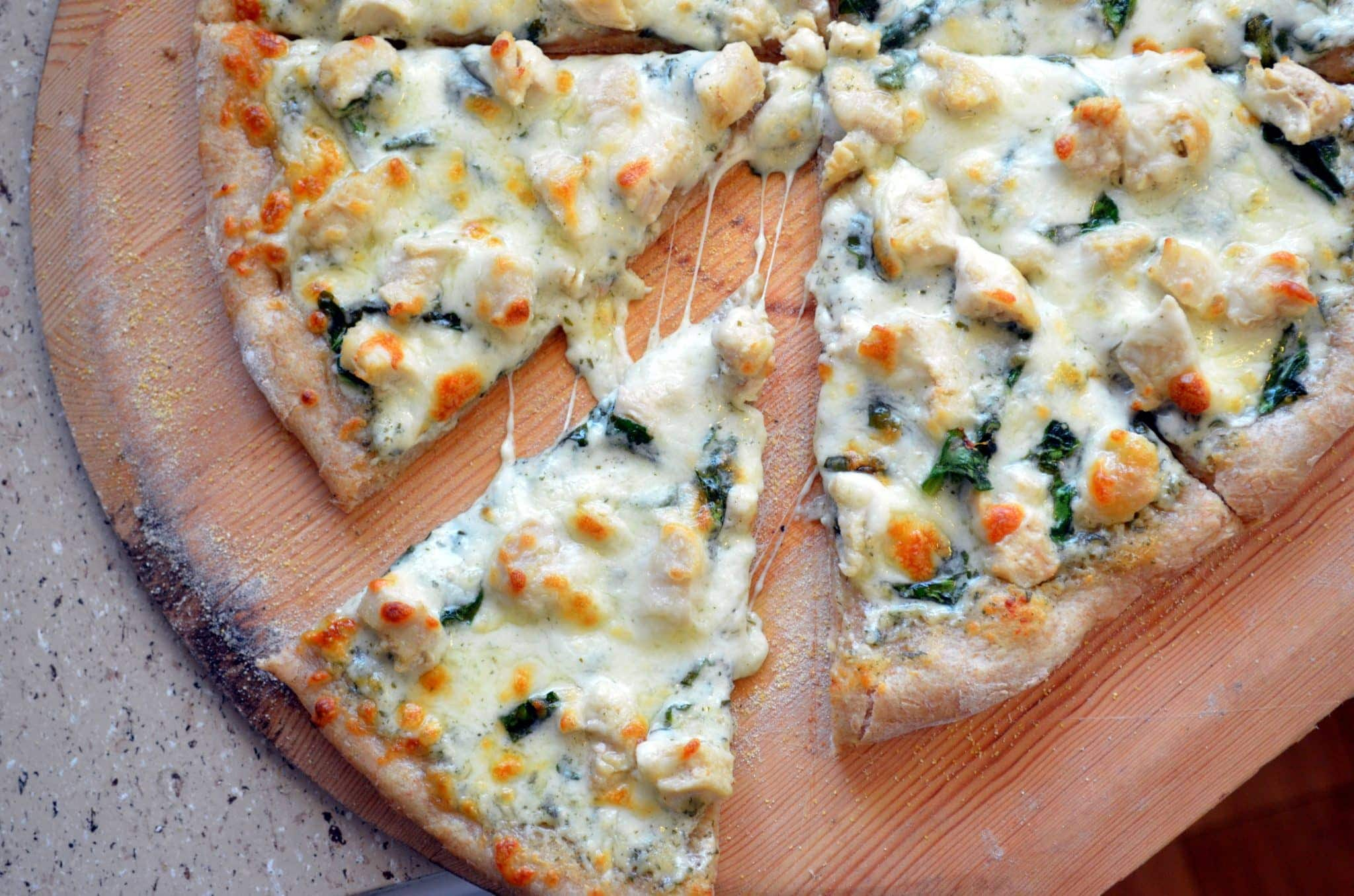 Chicken and Spinach Alfredo Pizza