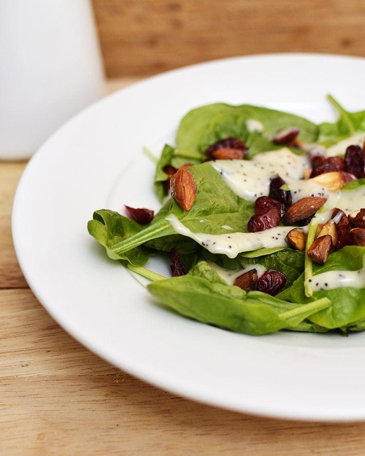Cranberry, Almond and Spinach Salad w/ Poppy Seed Dressing