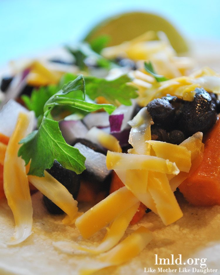 tacos combine the delicious flavors of sweet potatoes, black beans ...