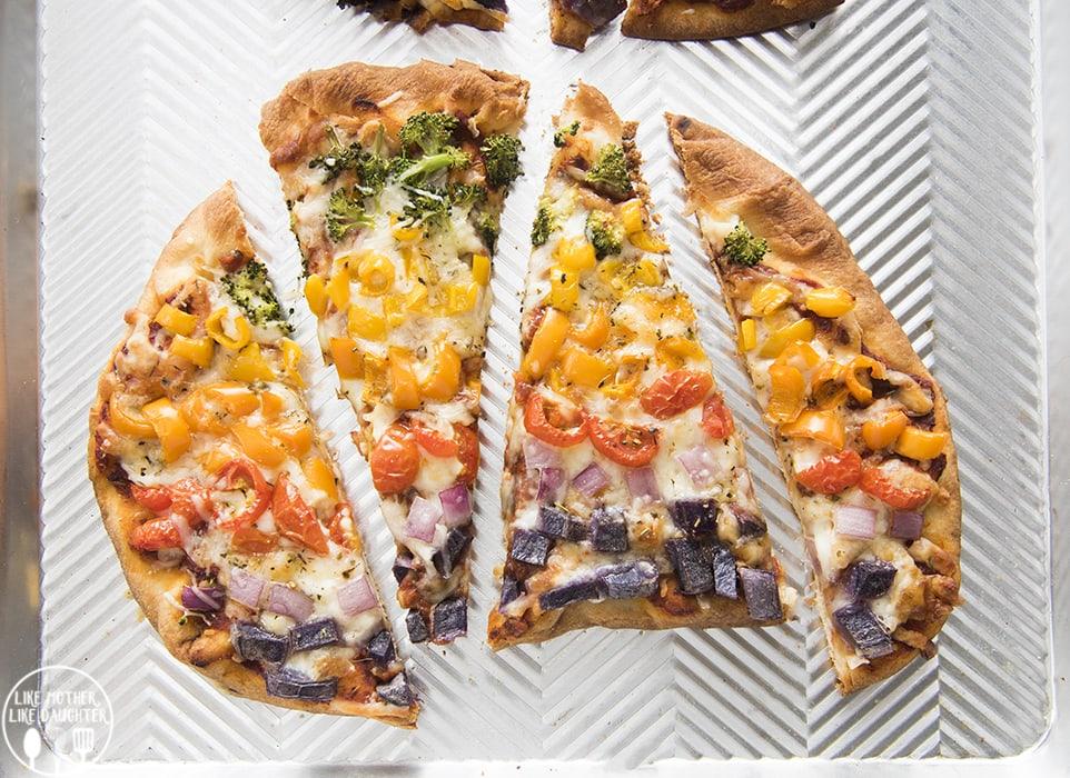 Veggie Pizza Recipe with rainbow vegetables