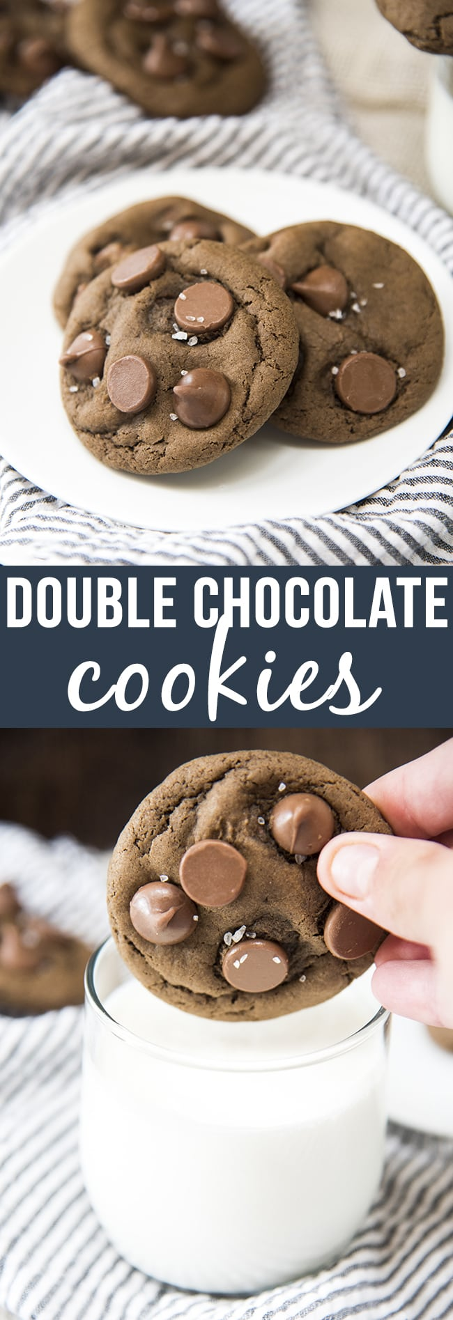 These are the best double chocolate cookies ever. They are thick and chewy stuffed full of chocolate for the best rich chocolatey cookies!
