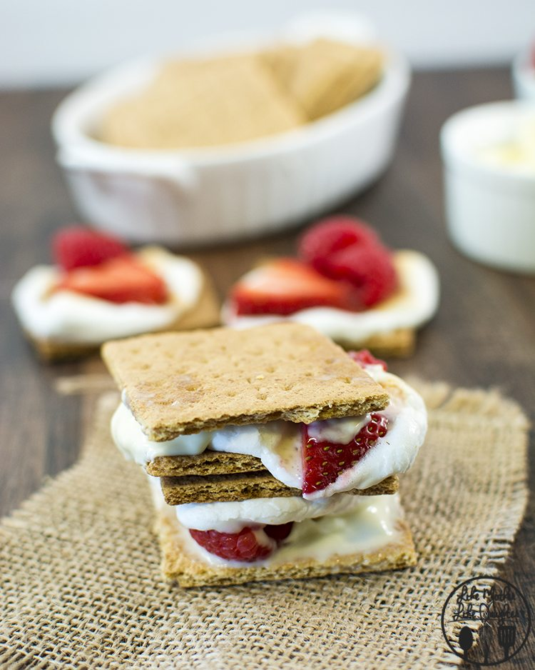 Berries and Cream Smores - A twist on traditional smores with berries and white chocolate for a delicious treat!
