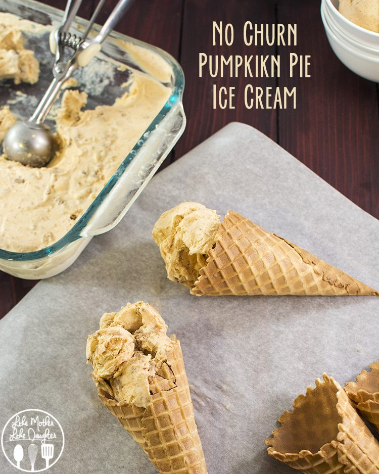 No Churn Pumpkin Pie Ice Cream - This creamy pumpkin pie ice cream is simple, no churn, and only has a few ingredients. It tastes just like a delicious slice of pumpkin pie topped with whipped cream!
