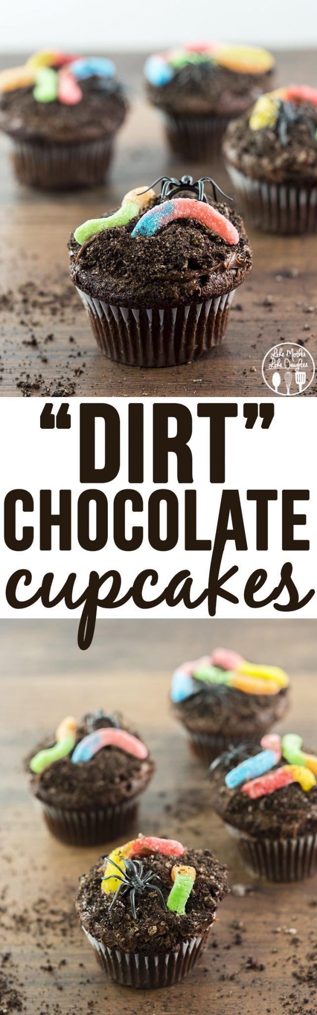 Dirt Cupcakes - These delicious chocolate cupcakes are topped with chocolate frosting and cookie crumbs and worms and spiders for a creepy crawly halloween treat