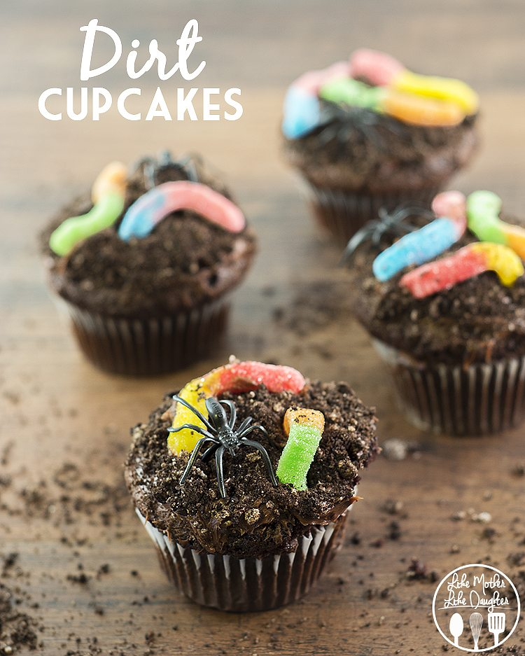 Halloween Cupcake Decorating Ideas Gummy Worms : Dirt Cupcakes - Like Mother Like Daughter
