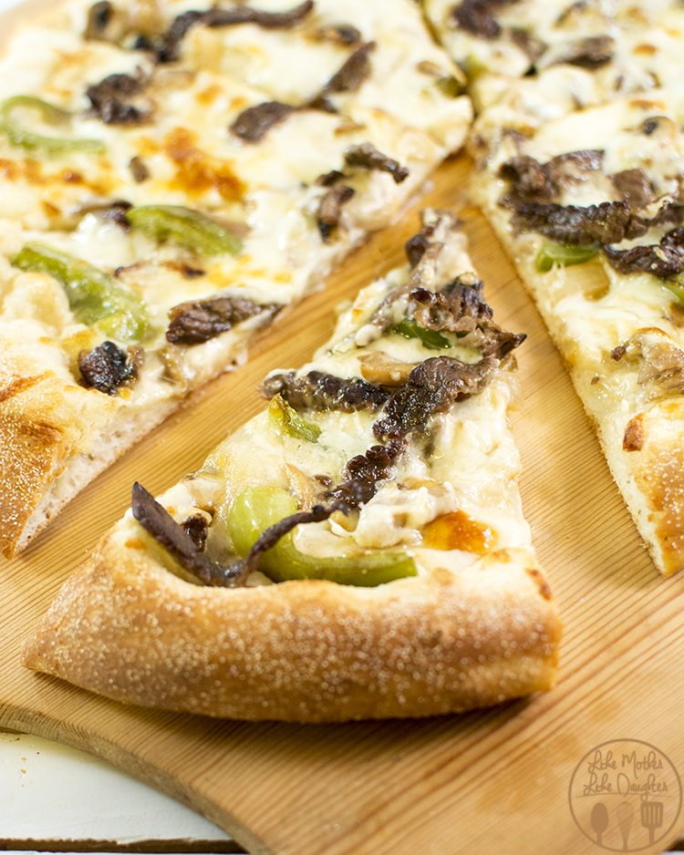 Philly Cheesesteak Pizza - The delicious taste of philly cheesesteak on a pizza. Yum!