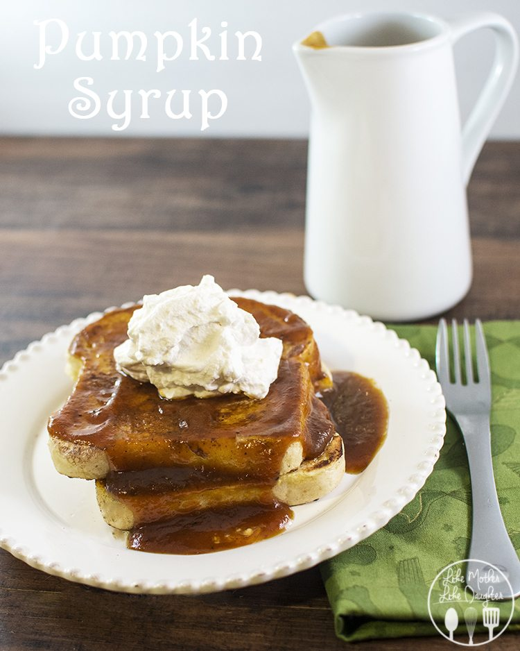 Pumpkin Syrup - This pumpkin syrup has that great fall taste you love with cinnamon, nutmeg and of course pumpkin. Perfect for topping your french toast, pancakes or waffles!