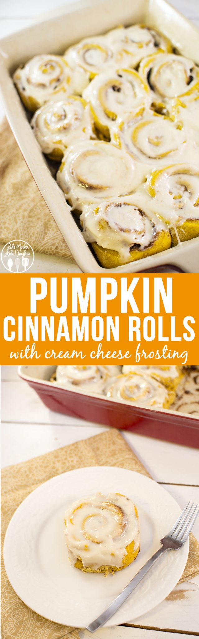 Pumpkin Cinnamon Rolls - these delicious pumpkin cinnamon rolls are a fun twist on traditional cinnamon rolls and have the perfect fall flavors. All topped with an amazing cream cheese frosting. These are a must make this fall!