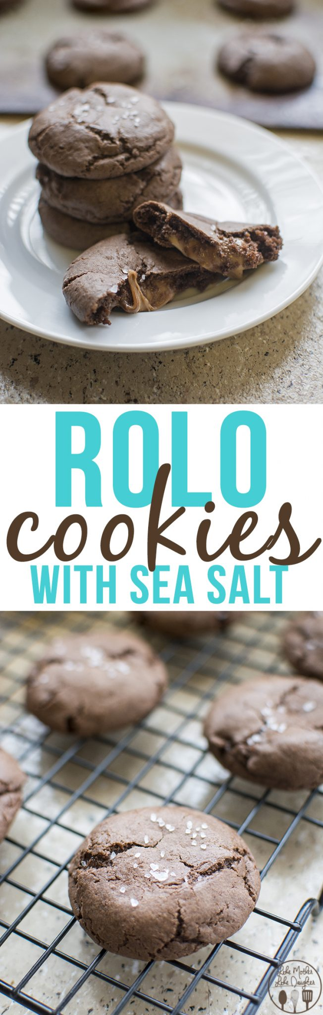 Rolo Cookies with Sea Salt - a delicious caramel and chocolate cookie that has the perfect sweet and salty taste. Only 5 ingredients for an easy and amazing cookie!