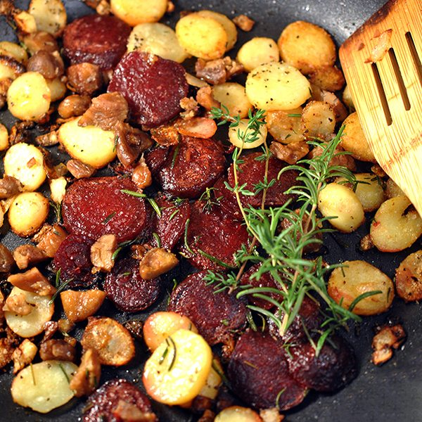 Skillet Beets, Potatoes, and Chestnuts