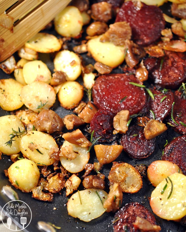 This savory skillet beet, potatoes, and chestnut recipe is an amazing combination of flavor that tempt your taste buds.