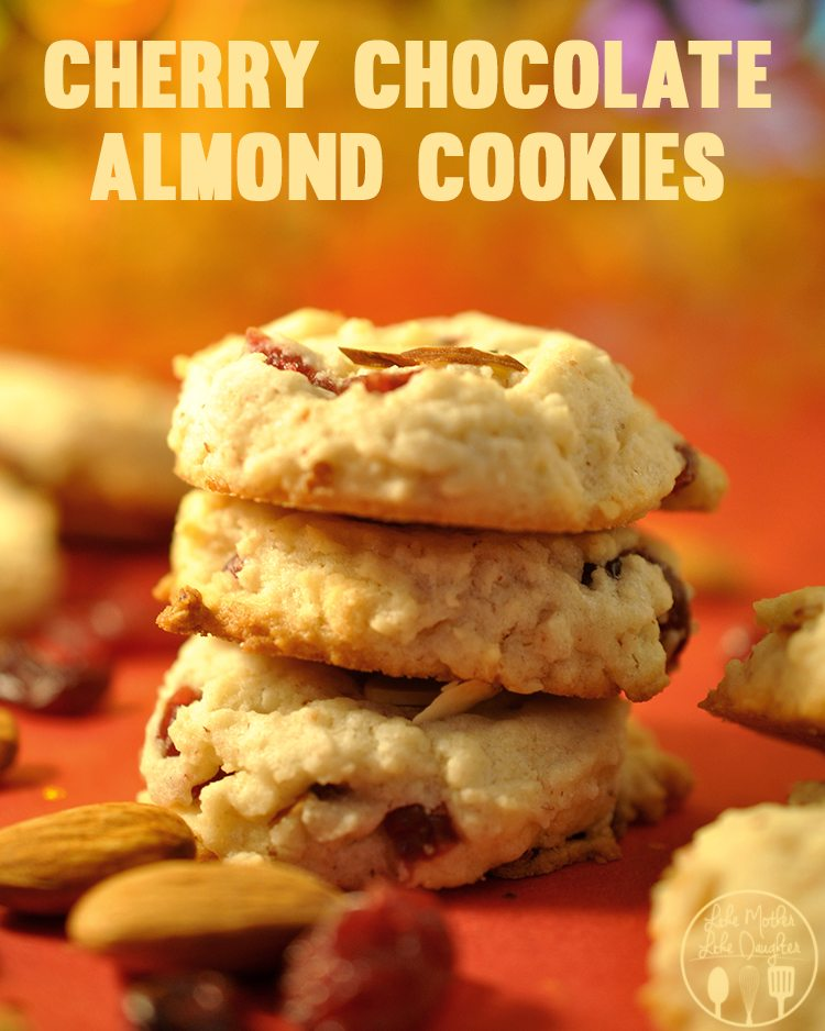 Cherry Chocolate Almond Cookies -  These cherry chocolate almond cookies are a perfect combination of these 3 flavors, inspired by the black and tan ice cream sunday for a delicious holiday treat!