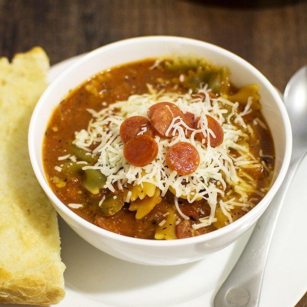 One Pot Hormel Pepperoni Pizza Soup