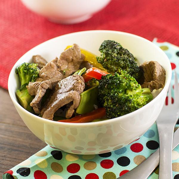 Steak and Veggie Stir Fry Rice Bowl with Homemade Teriyaki Sauce with SPLENDA® Sweeteners