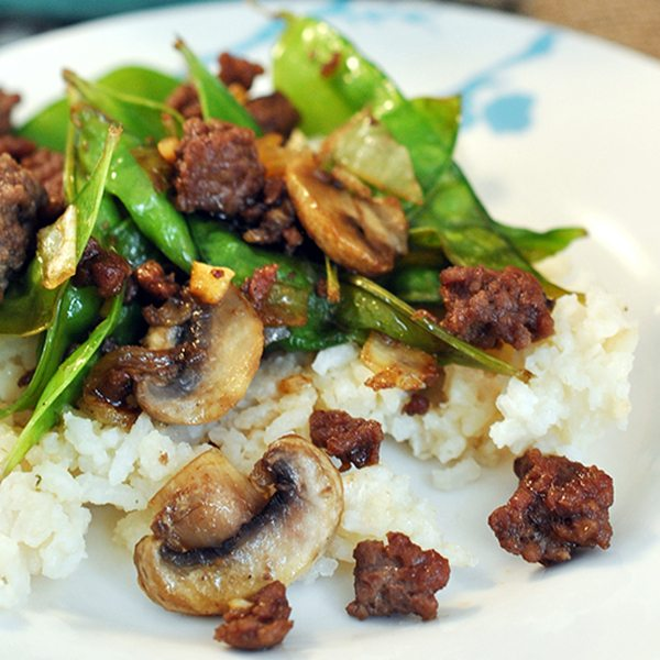 Asian Beef with Snow Peas and Mushrooms
