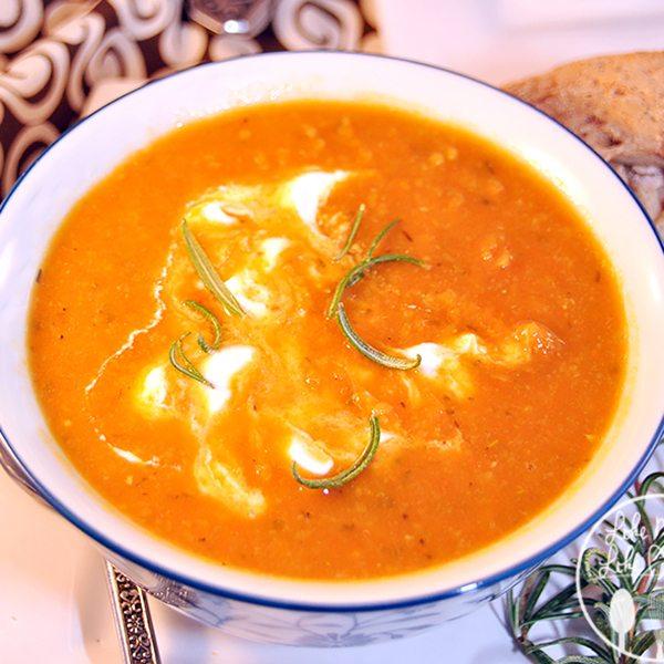 Roasted Carrot Split Pea Soup