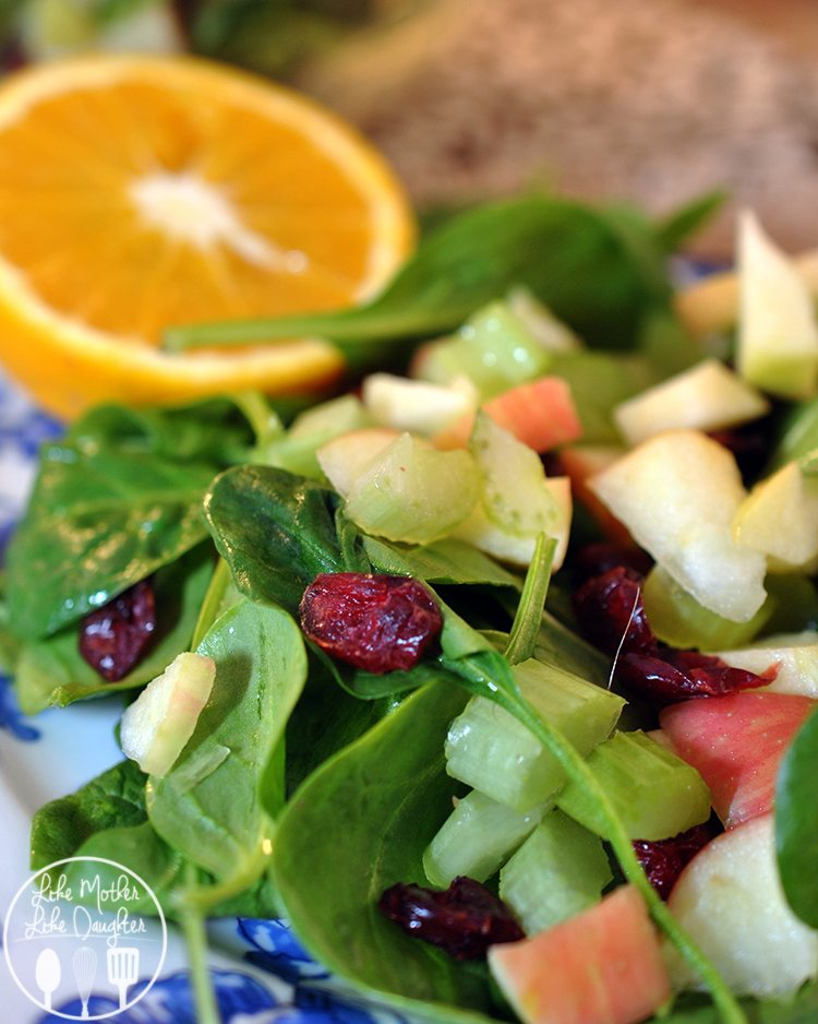 Cherry Apple Spinach Salad - This personal is full of tart cherries, and crisp apples and celery for  a healthy salad that is great for lunch!