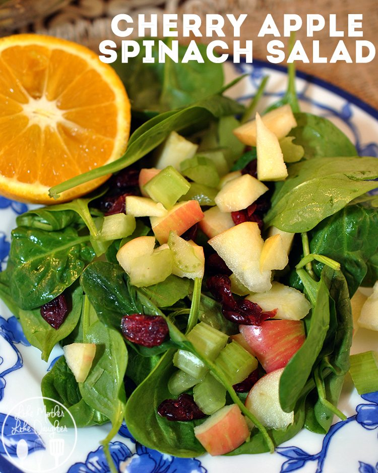 Cherry Apple Spinach Salad