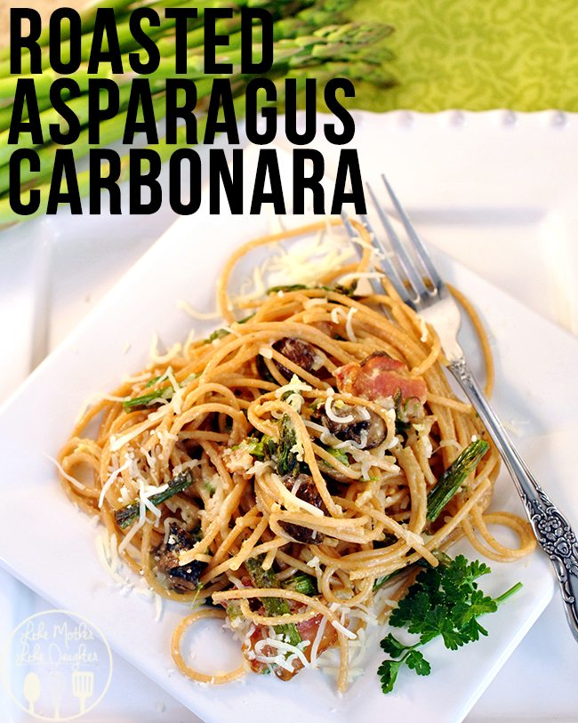 Roasted Asparagus Carbonara - The roasted asparagus, mushrooms, and ...
