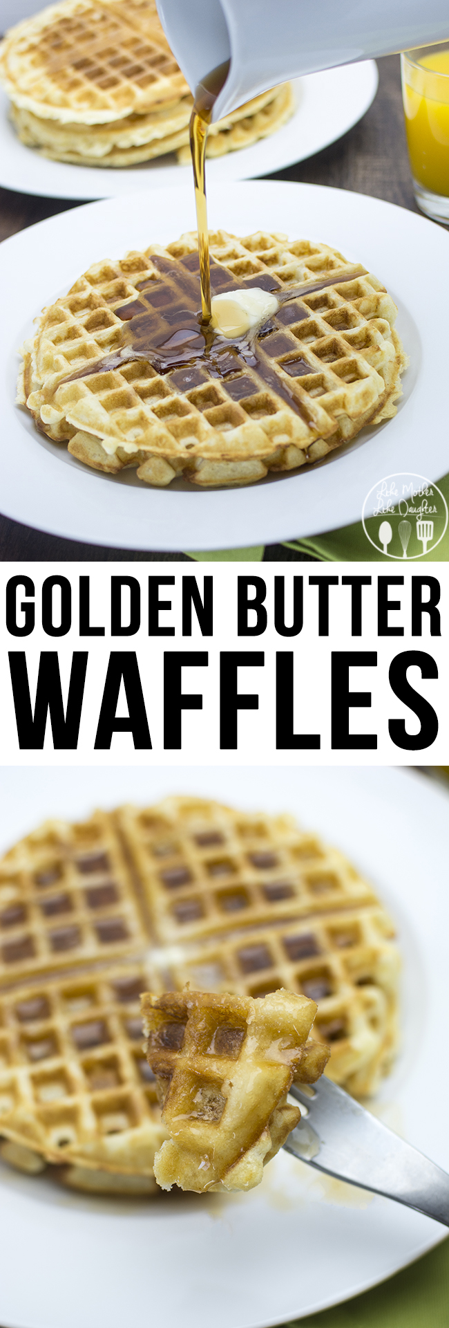 Golden Butter Waffles - These are the perfect waffles, crispy on the edges soft in the middle. So great for breakfast, brunch or brinner.