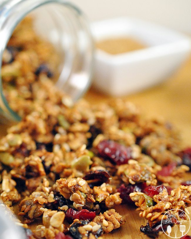 Nut and Seed Granola - This nut & seed granola is chocked full of healthy seeds like pumpkin, sesame, sunflower, and flax seeds along with pistachios and cranraisins for a most delicious granola you will want to snack on all day.