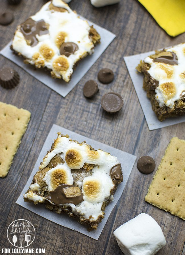 smores peanut butter cookie bars 3