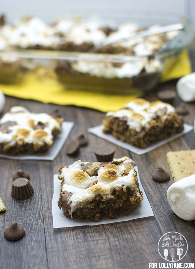 smores peanut butter cookie bars 4