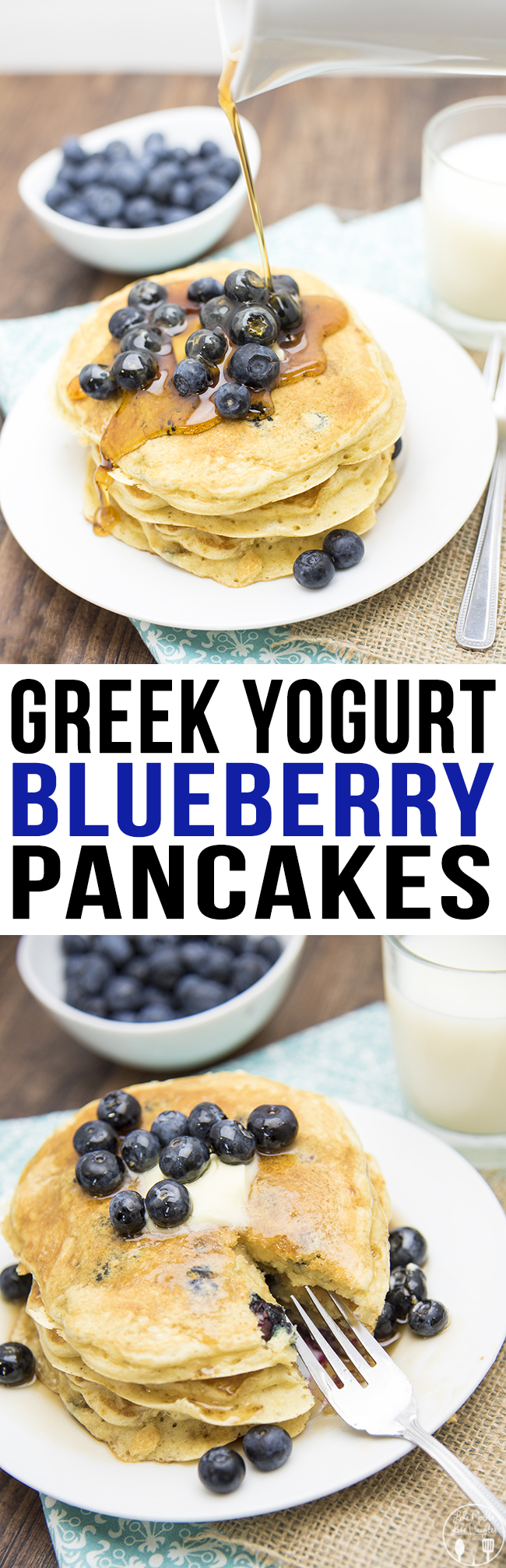 These greek yogurt blueberry pancakes are packed full of blueberries ...