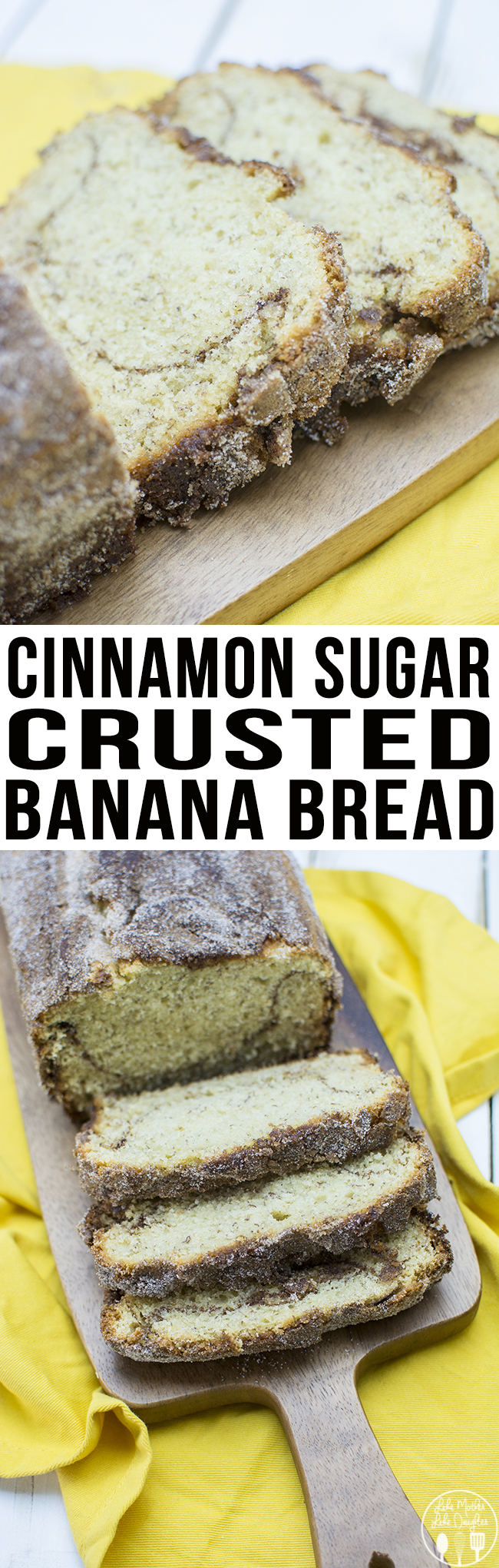 Cinnamon Sugar Crusted Banana Bread - This delicious banana bread has a great cinnamon swirl in the middle and is crusted with a crunchy flavorful cinnamon sugar crust for the perfect twist on banana bread!