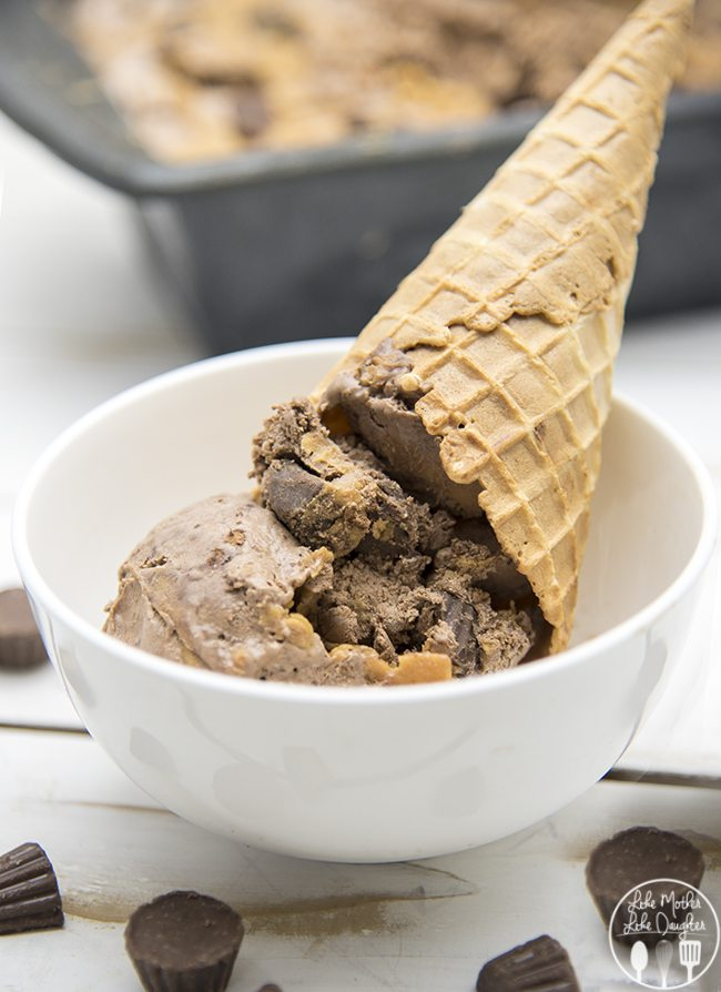 No Churn Chocolate Peanut Butter Cup Ice Cream - LMLDFood