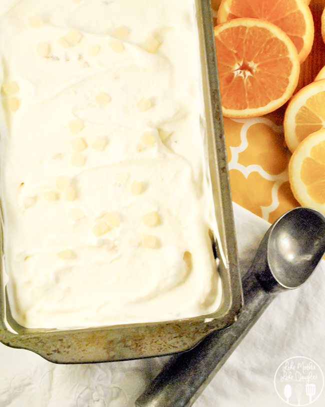 Tutti Frutti Ice Cream - this ice cream is refreshingly, citrusy ice cream made from fresh squeezed orange and lemon juice with banana and candied lemon/orange peels.