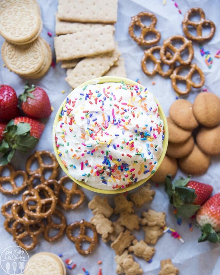 Funfetti cake dip made with cake mix
