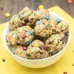 No Bake Monster Cookie Granola Bar Bites