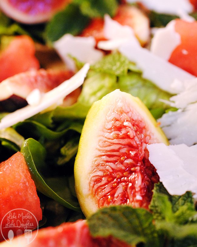 Fig Watermelon Spinach Salad - This salad is the perfect main dish salad with great flavors of fig, watermelon, mint and Unexpected Cheese.