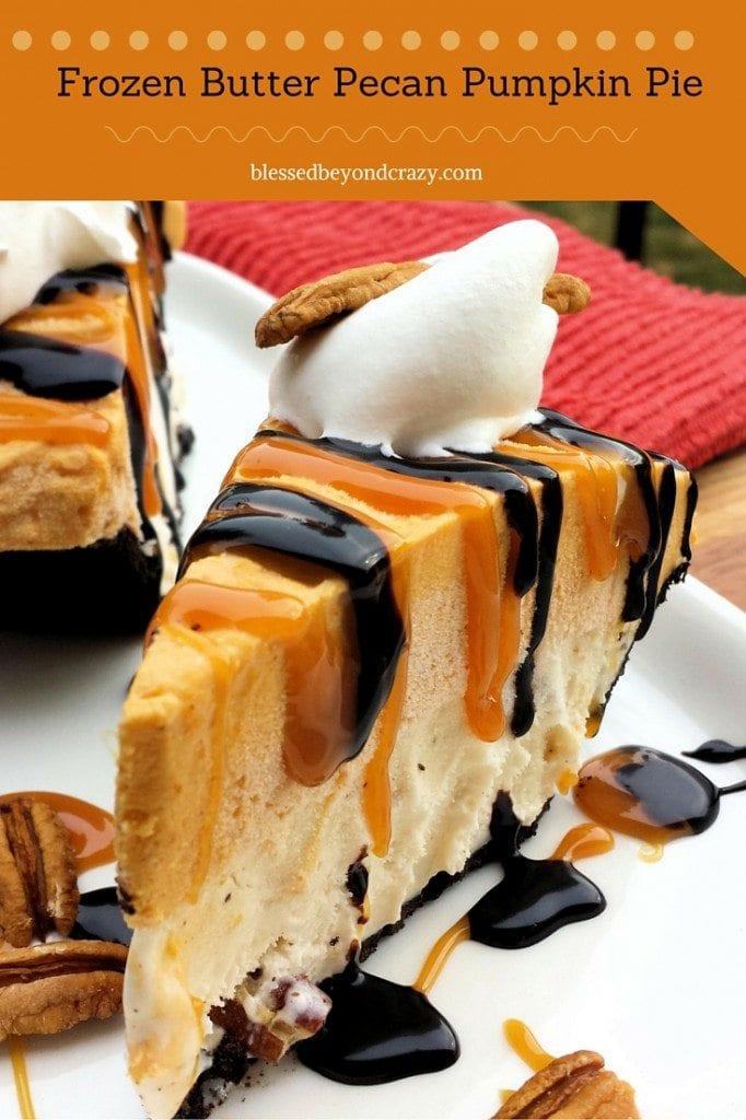 Frozen Butter Pecan Pumpkin Pie from Blessed Beyond Crazy