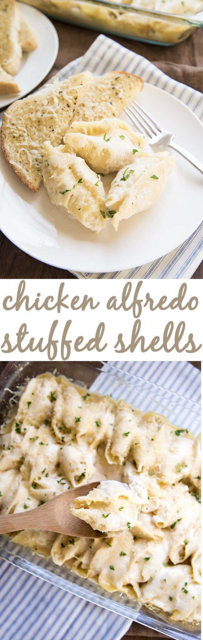 Chicken Alfredo Stuffed Shells are filled with a creamy ricotta cheese, and shredded chicken mixture. Topped with Alfredo sauce and mozzarella cheese for a great twist on traditional stuffed shells!