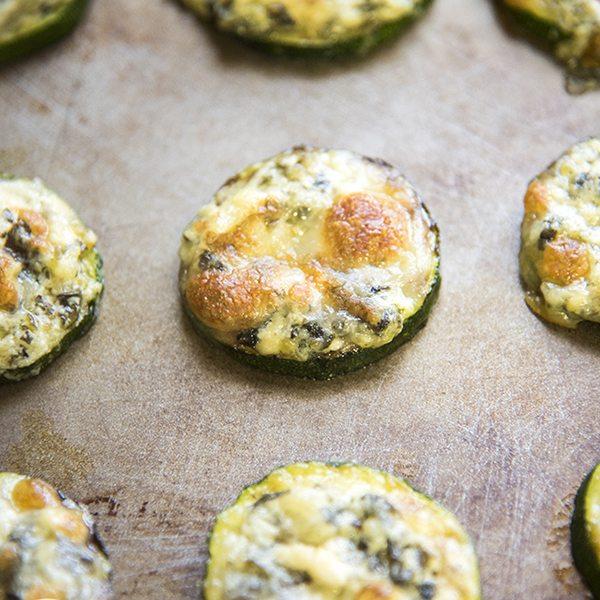 Spinach and Artichoke Dip Zucchini Bites