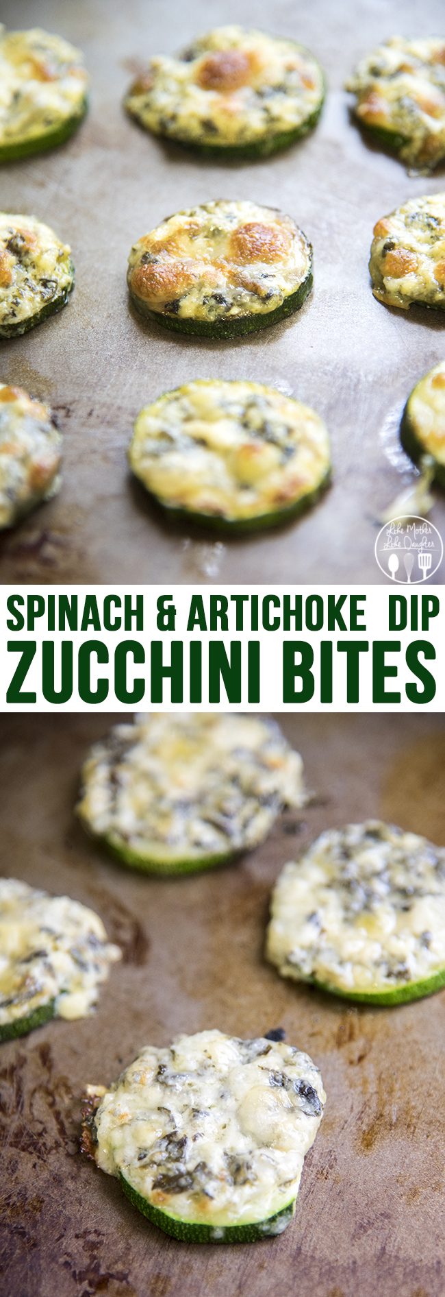 Spinach and Artichoke Dip Zucchini Bites - These These spinach and artichoke dip zucchini bites are only 3 ingredients and the perfect way to enjoy spinach and artichoke dip without the carbs!