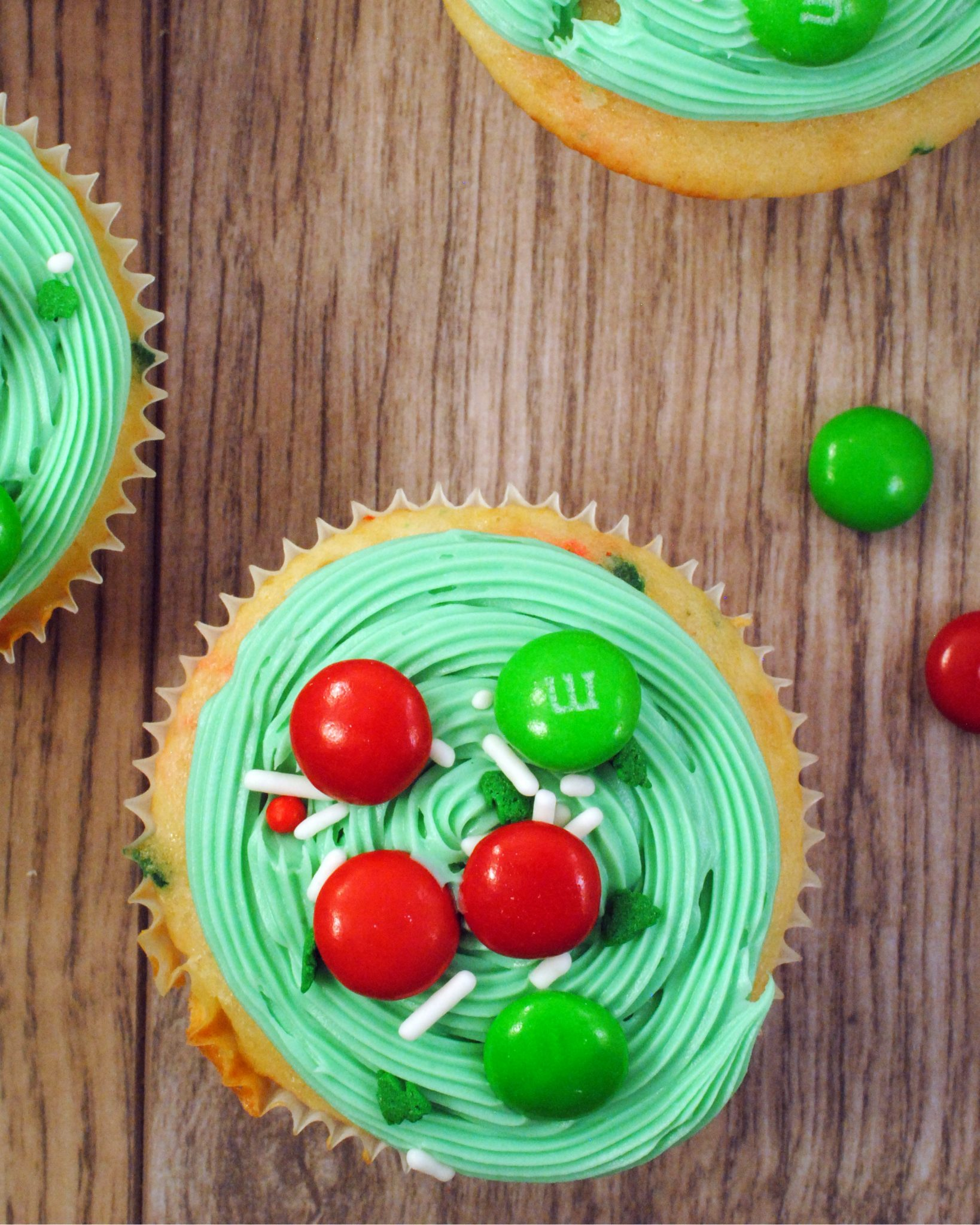 A festive Funfetti® cupake that has M&M's® White Peppermint baked right in and decorated with M&M's® Holiday Milk Chocolate for real festive fun
