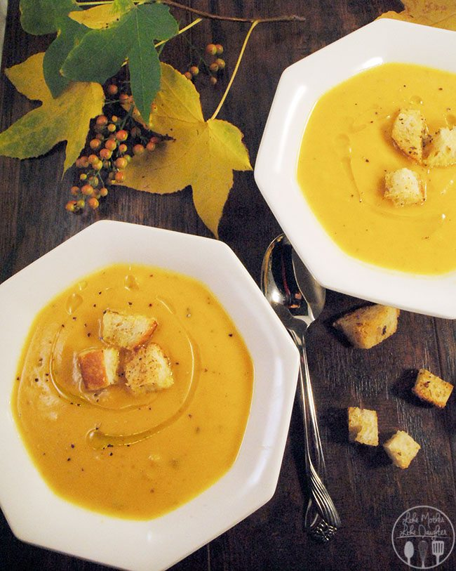 Autumn soup - This delicious soup combines acorn and butternut squash with pumpkin, apples, onions, and sage. The perfect fall flavors in a soup.