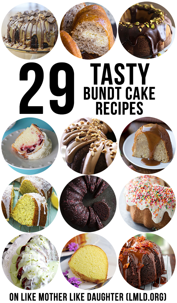 29 Tasty Bundt Cake Recipes - A round up of amazing and delicious bundt cake recipes that everyone will love. From chocolate peanut butter, to sugar cookie, to lemon poppyseed!