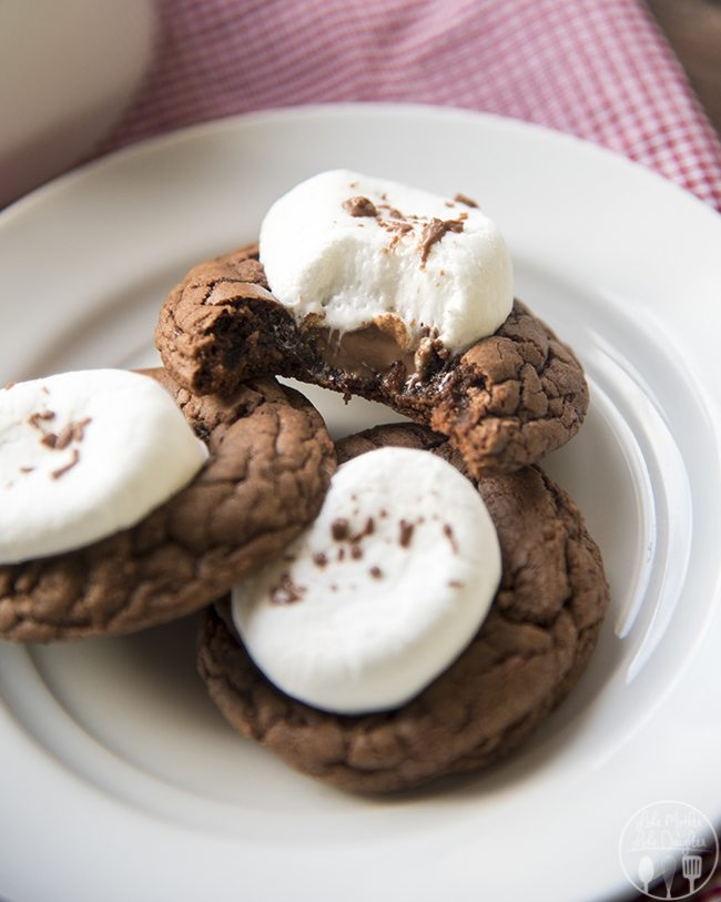 Hot Chocolate Cookies - These delicious rich, soft chocolate cookies are topped with melted chocolate and a gooey marshmallow. They're perfect paired with a mug of steamy hot chocolate! Or great for a holiday party!