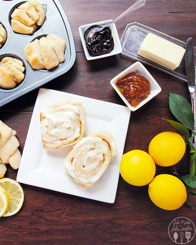 Lemon sweet rolls - these sweet rolls are made with Meyer lemon juice and zest, the dough can be made into crescent rolls, or parkerhouse rolls, or cinnamon rolls with a sweet lemon glaze - 1 dough 3 ways