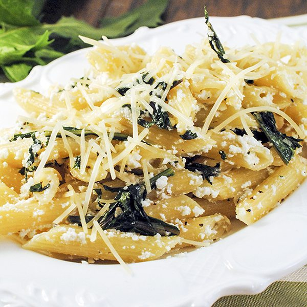 Penne Pasta with Dandelion Greens