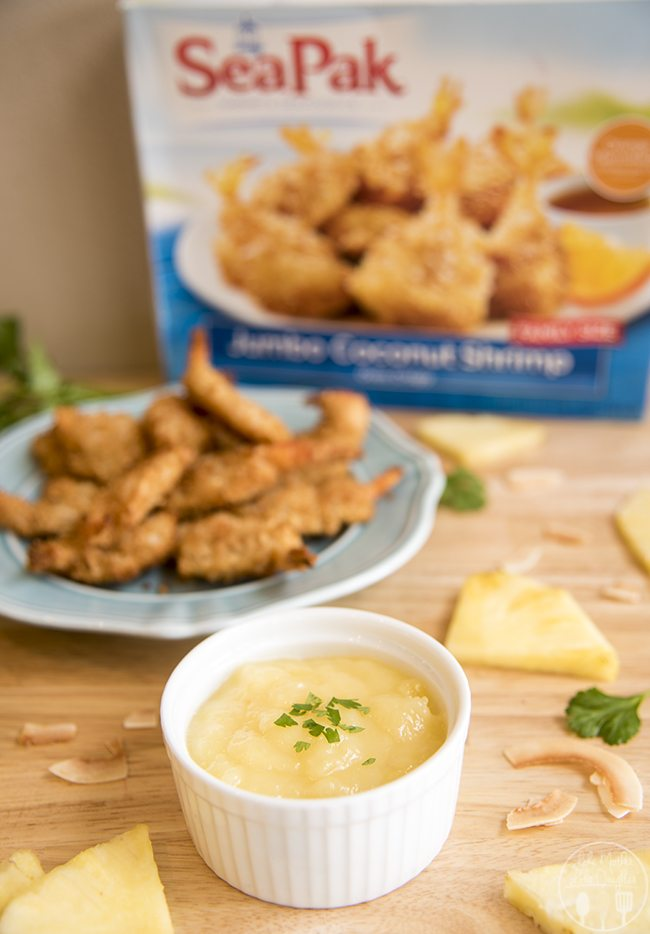 Piña Colada Dipping Sauce - This quick and easy 4 ingredient piña colada dipping sauce is perfect served with crispy oven baked coconut shrimp! Its a perfect appetizer!