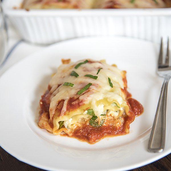 Spinach Lasagna Roll Ups