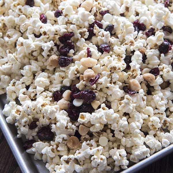 White Chocolate, Cranberry and Macadamia Popcorn Snack Mix