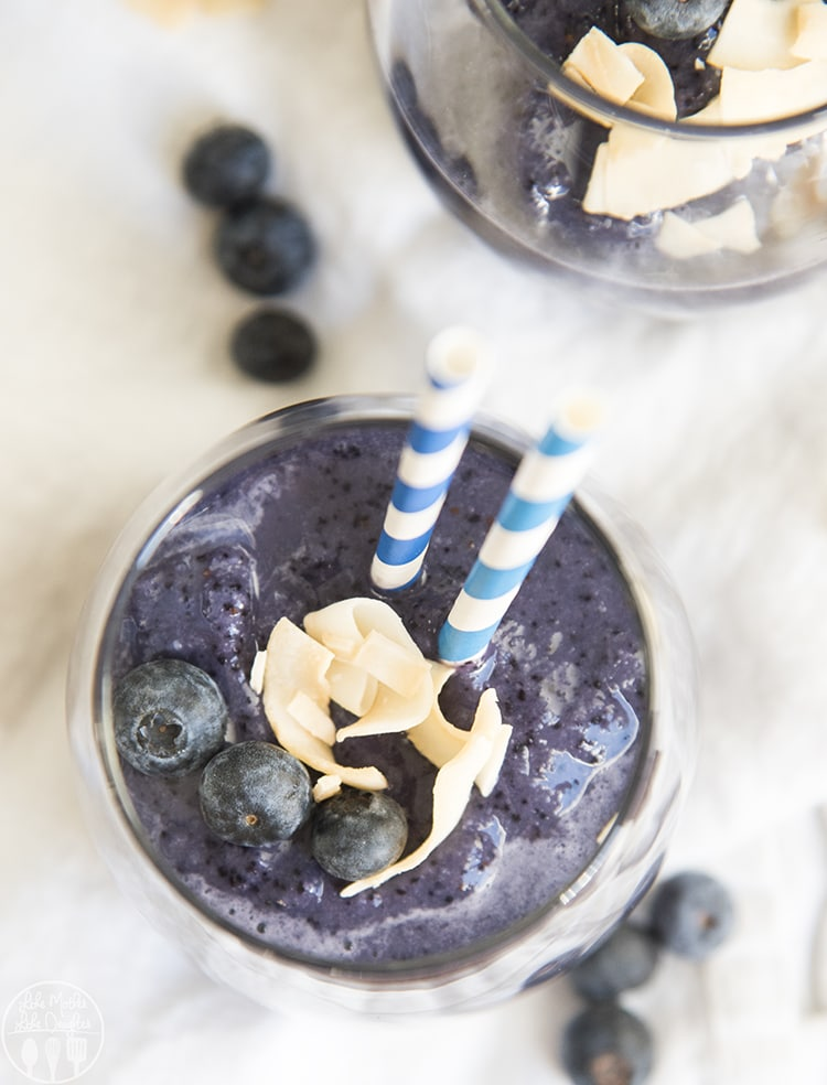 This blueberry smoothie recipe is only 4 ingredients and so easy to make!